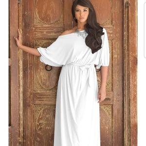 KOH KOH white one shoulder maxi dress evening
